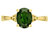 Green Russian Chrome Diopside 18k Yellow Gold Over Sterling Silver Ring 1.69ctw