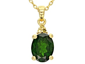 Green Russian Chrome Diopside 18k Gold Over Sterling Silver Pendant With Chain 1.66ctw