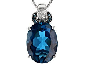 London Blue Topaz Rhodium Over Sterling Silver Pendant With Chain 10.25ctw