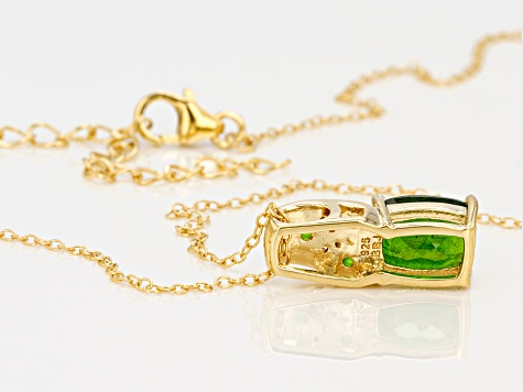 Green Chrome Diopside 18k Gold Over Sterling Silver Pendant With Chain 1.85ctw