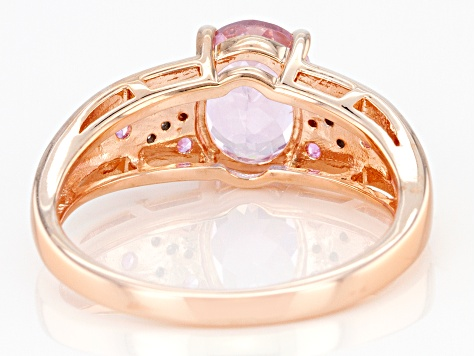 Pink kunzite 18k rose gold over sterling silver ring 2.42ctw