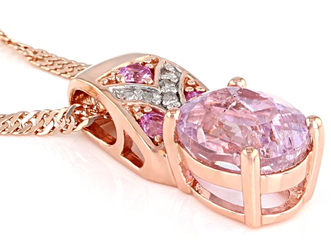 Pink kunzite 18k rose gold over silver pendant with chain 2.31ctw