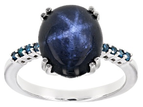 Blue star sapphire rhodium over sterling silver ring 7.07ctw