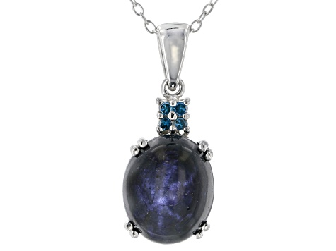 Blue star sapphire rhodium over silver pendant with chain 7.02ctw