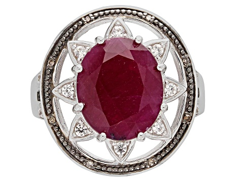Red Indian Ruby Rhodium Over Sterling Silver Ring 5.49ctw