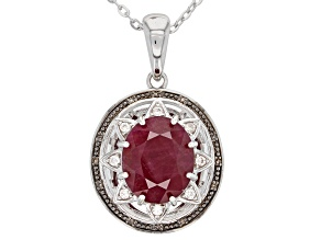 Red Indian Ruby Rhodium Over Sterling silver Pendant With Adjustable Chain 5.41ctw