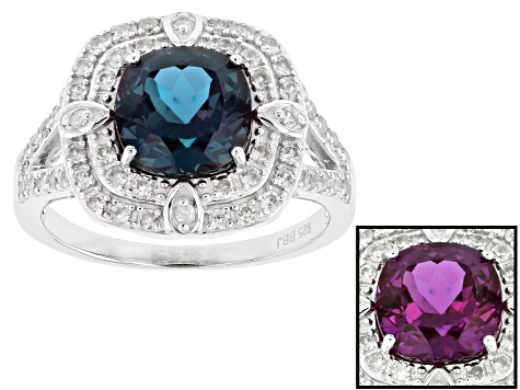Blue Lab Created Alexandrite Rhodium Over Sterling Silver Ring 2.91ctw