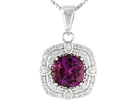 Blue Lab Created Alexandrite Rhodium Over Sterling Silver Pendant With Chain 2.76ctw