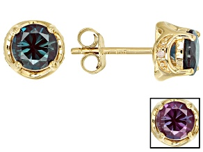 Blue Lab Created Alexandrite 18k Yellow Gold Over Sterling Silver Stud Earrings 1.71ctw