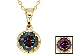 Blue Lab Created Alexandrite 18k Yellow Gold Over Sterling Silver Pendant With Chain 1.32ctw