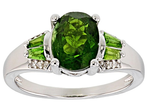 Green Chrome Diopside Rhodium Over Sterling Silver Ring 1.84ctw