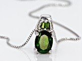Green Chrome Diopside Rhodium Over Sterling Silver Pendant With Chain 1.73ctw
