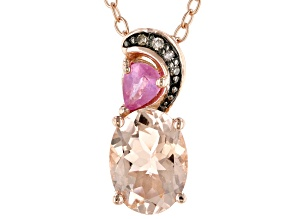 Pink morganite  18k rose gold over sterling silver pendant chain 1.06ctw