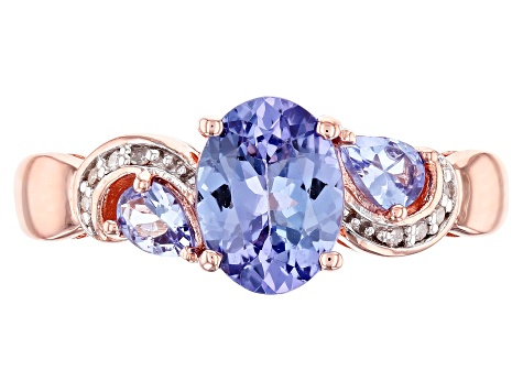 Blue Tanzanite 18k Rose Gold Over Sterling Silver Ring 1.23ctw