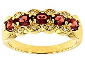 Red garnet 18k gold over silver ring .84ctw
