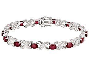 Red ruby rhodium over silver bracelet 8.34ctw