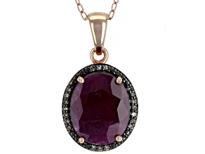 Red Ruby 18k Rose Gold Over Silver Pendant With Chain 4.73ctw