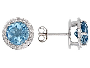Blue Glacier topaz(TM) rhodium over silver earrings 3.53ctw
