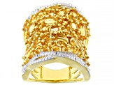 Yellow citrine 18k yellow gold over silver ring 5.25ctw