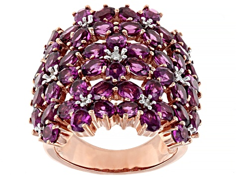 Raspberry color rhodolite 18k rose gold over silver ring 10.92ctw
