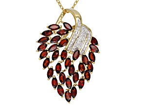 Red garnet 18k yellow gold over silver pendant with chain 2.82ctw