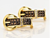 Brown Smoky Quartz 18k Gold Over Silver Buckle Earrings .68ctw