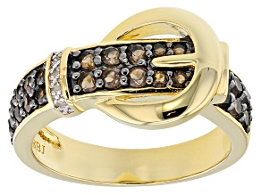 Brown Smoky Quartz 18k Gold Over Silver Buckle Ring .59ctw