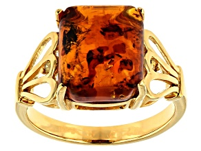 Orange Amber 18k Gold Over Silver Ring .02ctw