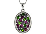 Multi-Gem Rhodium Over Silver Pendant With Chain 3.32ctw