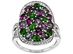 Multi-Gem Rhodium Over Sterling Silver Ring 3.32ctw