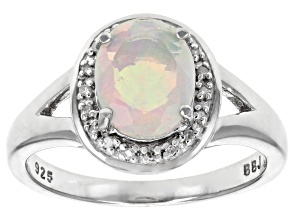 Ethiopian opal rhodium over sterling silver ring .89ctw