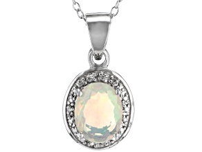 Ethiopian opal rhodium over silver pendant with chain .89ctw