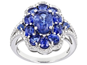 Blue Kyanite rhodium over sterling silver ring 3.45ctw