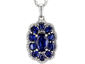 Blue Kyanite rhodium over silver pendant with chain 3.36ctw