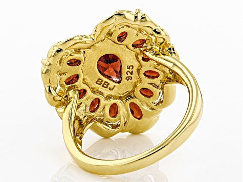 Red Garnet 18k Gold Over Silver Ring 3.14ctw