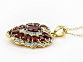 Red Garnet 18k Gold Over Silver Pendant With Chain 3.14ctw