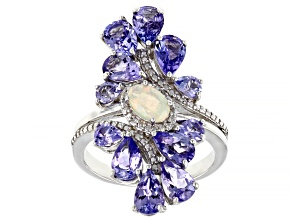 White opal rhodium over sterling silver ring 3.31ctw