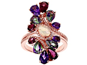 White Ethiopian Opal 18k Rose Gold Over Silver Ring 3.82ctw