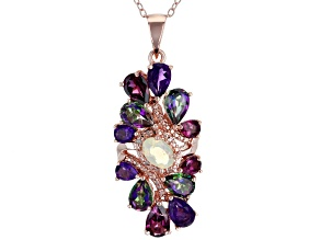 White Ethiopian Opal 18k Rose Gold Over Silver Pendant With Chain 3.82ctw