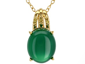 Green onyx 18k gold over silver pendant with chain .01ctw