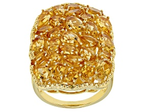 Yellow citrine 18k gold over silver ring 5.97ctw