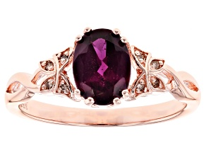Raspberry color rhodolite 18k rose gold over silver ring 1.21ctw