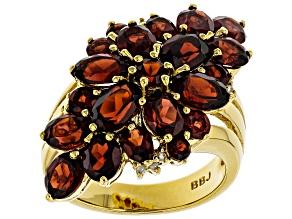 Red garnet 18k gold over sterling silver ring 6.27ctw