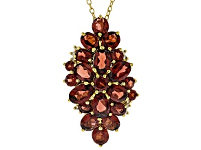 Red garnet 18k gold over sterling silver pendant/slide with chain 6.27ctw