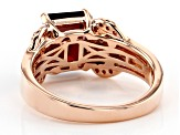 Red garnet 18k rose gold over sterling silver ring 2.75ctw