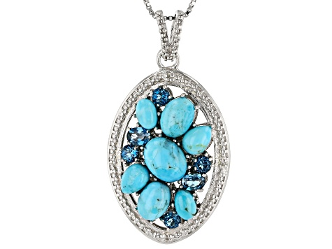 Blue turquoise rhodium over silver pendant with chain .83ctw