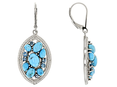 Blue turquoise rhodium over silver earrings .63ctw