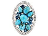 Blue turquoise rhodium over silver ring .83ctw