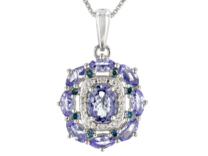 Blue tanzanite rhodium over silver pendant with chain 1.77ctw