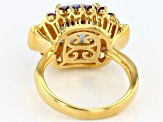 Multi-Color Quartz 18k Gold Over Silver Ring 3.84ctw